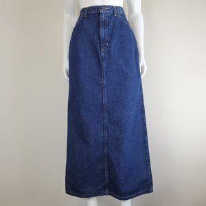 Vintage Blue Denim Maxi Skirt